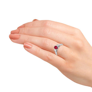 1.00CTW Oval Genuine Ruby and Diamond 3 Stone Ring in Sterling Silver