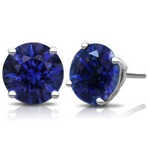 Round 2CTW Lab Created Sapphire Basket Set Stud Earrings in 14K White Gold