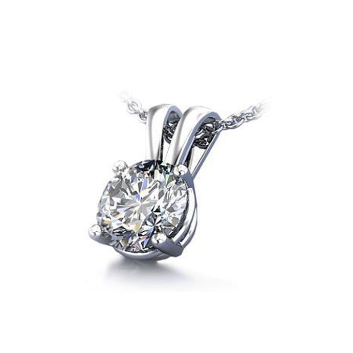 2.00CTW Simulated Diamond Pendant in Solid 14K White Gold