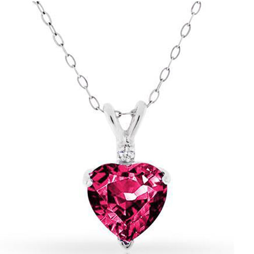 4.00ctw Diamond & Lab Created Ruby Heart Pendant in Sterling Silver