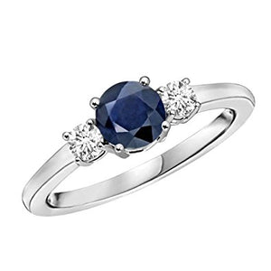 14K White Gold 1.25CTW Genuine Sapphire & Diamond 3 Stone Ring