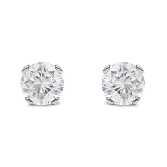 5 Point Tiny Diamond Stud Earrings in Solid Silver