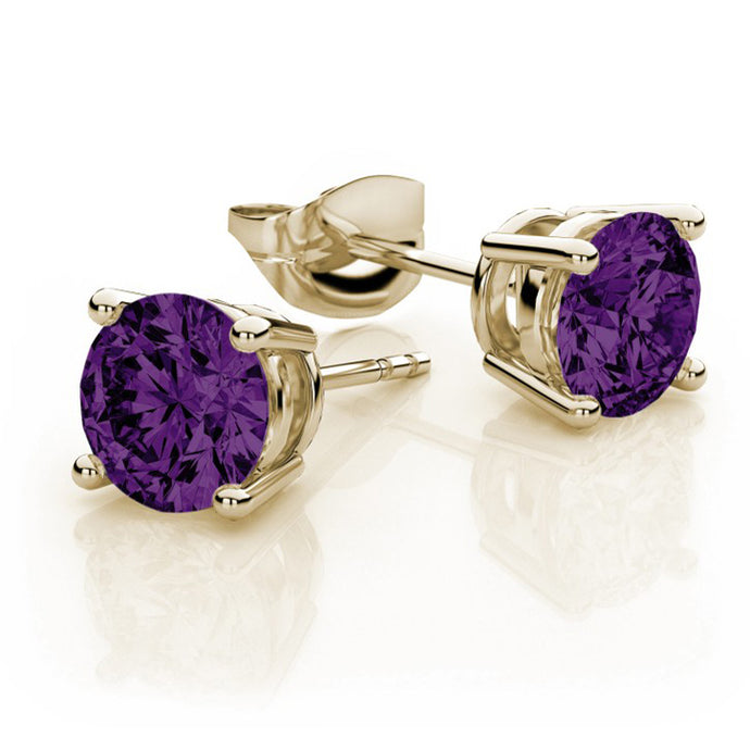 7mm Amethyst Stud Earrings 14K Yellow Gold with Screw Backings