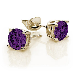 6mm Amethyst Push-back Stud Earrings 14K Yellow Gold