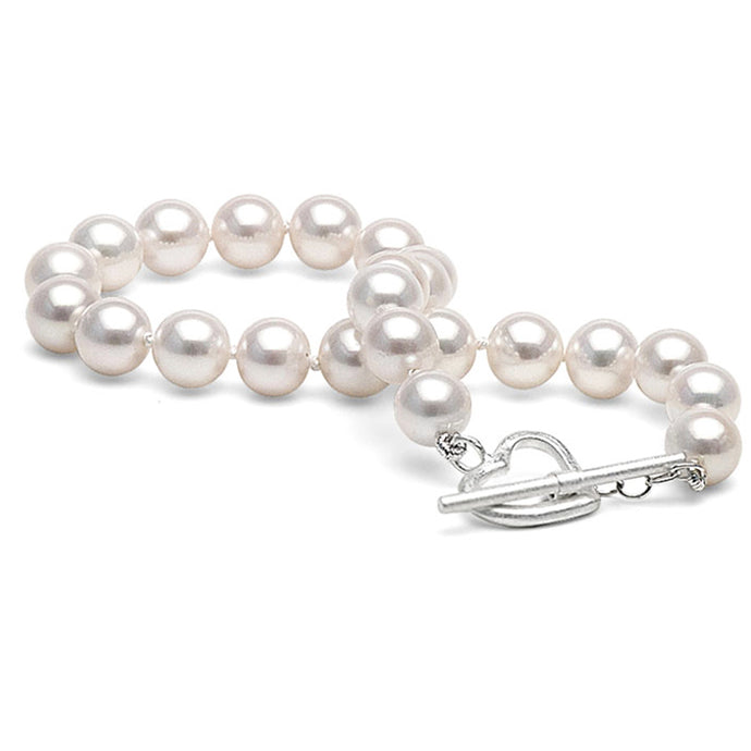 Freshwater Cultured Pearl Bracelet in 14k White Gold Over Sterling(7.0-7.5mm)