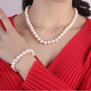 Genuine Cultured Freshwater Pearl 3 Pc Set Necklace, Bracelet & Earrings In Sterling