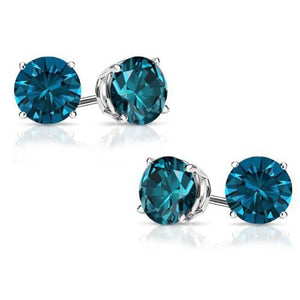 2.00 ct. Genuine London Blue Topaz Stud Earrings Solid 14Kt White Gold