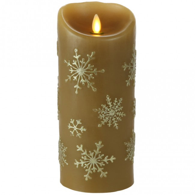 Luminara 9 inch Snowflake Embossed Flameless Flickering Candle with Timer