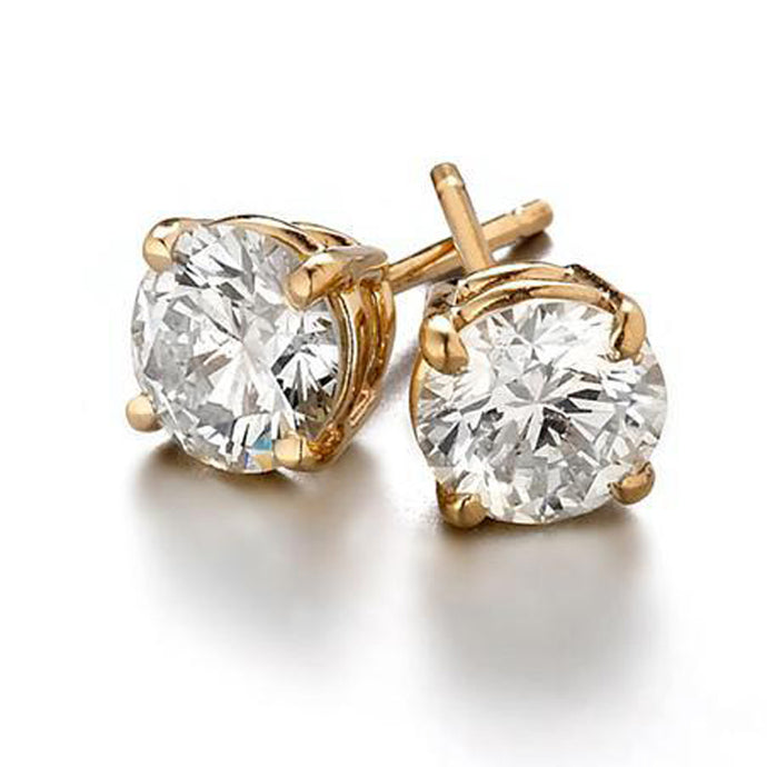 Sight Holder Diamonds 2.00 CTW Created Diamond Studs Earring Set In 14K Yellow Gold