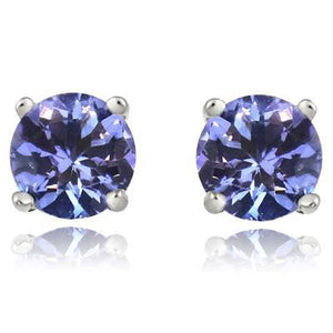 Sight Holder Diamonds 2.50 CTW Created Tanzanite Sterling Silver Earrings Set