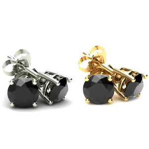 14KT Gold 2.00 CTW Genuine Black Onyx Studs