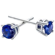 Voss+Agin Blue Sapphire Stud Earrings in 14K White Gold