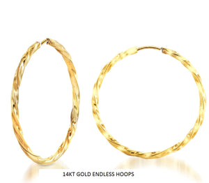 Voss+Agin 40mm Braided Endless Hoops in 14kt Gold Over Silver