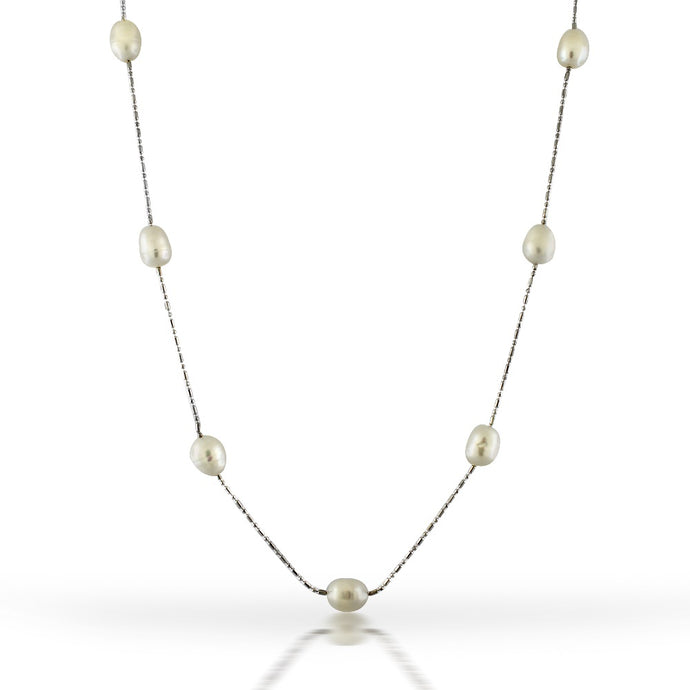 Genuine 7.5mm Freshwater Pearls with Sterling Silver 36 Inch Station Necklace