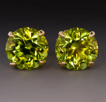 VOSS+AGIN 14kt Gold 2.00 Ct Green Peridot Gemstone Birthstone Earrings (6mm)
