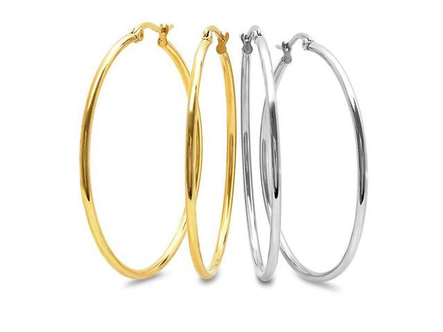 VOSS+AGIN 2 Pairs: 18-Karat Yellow Gold-Plated & Stainless Steel Hoops