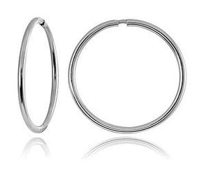 18-Karat White Gold-Plated Stainless Steel Hoop Earrings