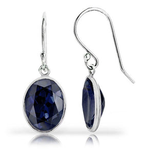 3.00 CTW Genuine Sapphire Oval-Cut Earrings
