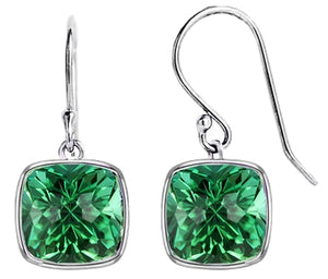 5.00 CTTW Cushion Shaped Emerald Drop Earrings in Solid Sterling Silver