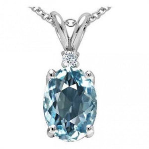 Aquamarine & Diamond Pendant Set in Solid Sterling Silver