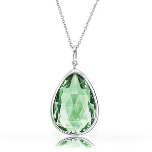 7.00 CTW Genuine Green Amethyst Pendant in Sterling Silver