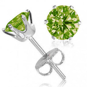 Sterling Silver 6mm 6 Prongs Oval Peridot Stud Earrings