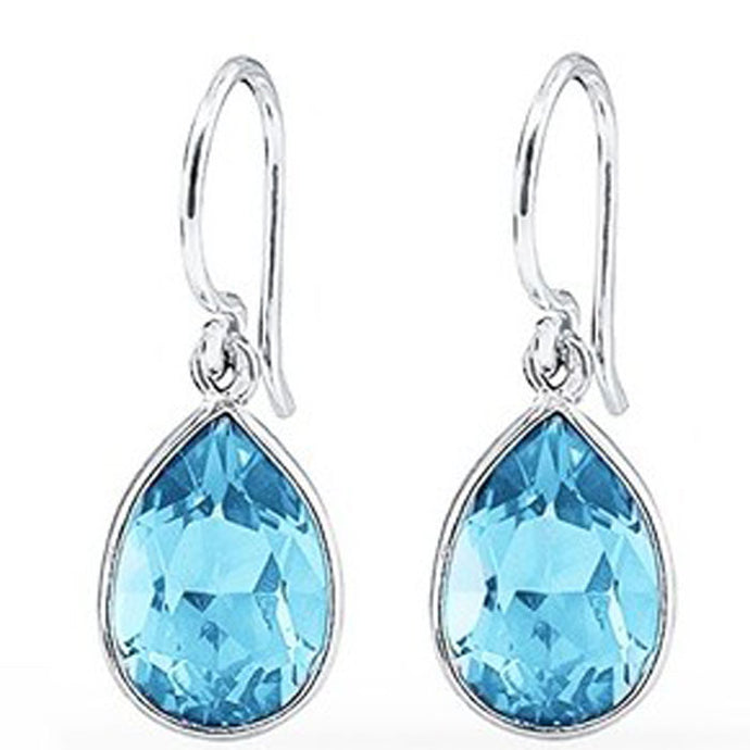 3.00 CTW Pear-Shaped Blue Topaz Drop Earrings in Sterling Silver