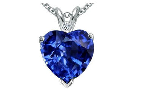 4.00 CTW Stunning Created Sapphire & Diamond Pendant In Sterling Silver