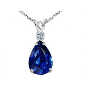 Sapphire 3.00 CTTW Genuine Diamond and Gemstone Pendant in Sterling Silver