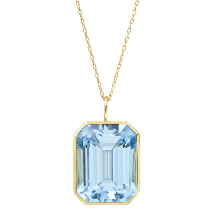 5.00CTW Swiss Blue Topaz Pendant in 14kt Gold Over Sterling
