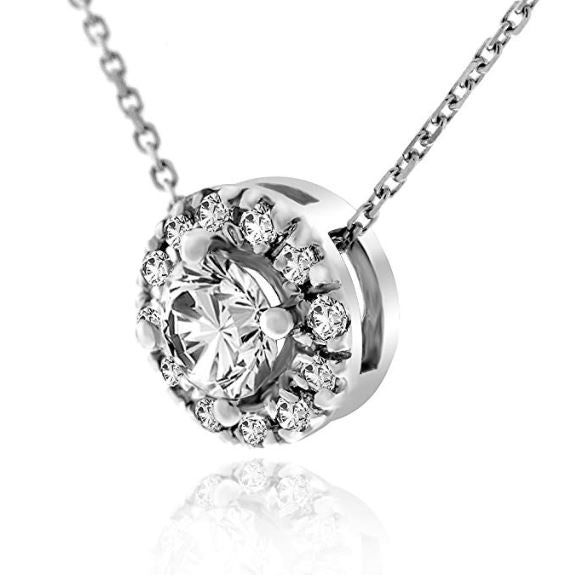 SI .50CTW Genuine Diamond Halo Pendant Necklace in 14k White Gold