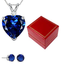 4.00 CTW Genuine Diamond & Created Sapphire Pendant & Earrings In Sterling Silver
