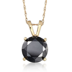 2.00CTW Black Onyx Pendant in Solid 14K Yellow Gold (8 mm)