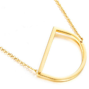 18K Gold Plated Sideways Initial Charm Necklace by VOSS +AGIN