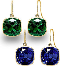 Set of 2 Voss+Agin 4.00 CTW Created Sapphire and Emerald Gold Plated Drop Earrings