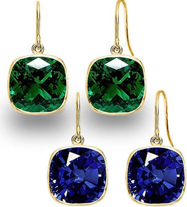 Set of 2 Voss+Agin 4.00 CTW Created Sapphire & Emerald Gold Plated Drop Earrings
