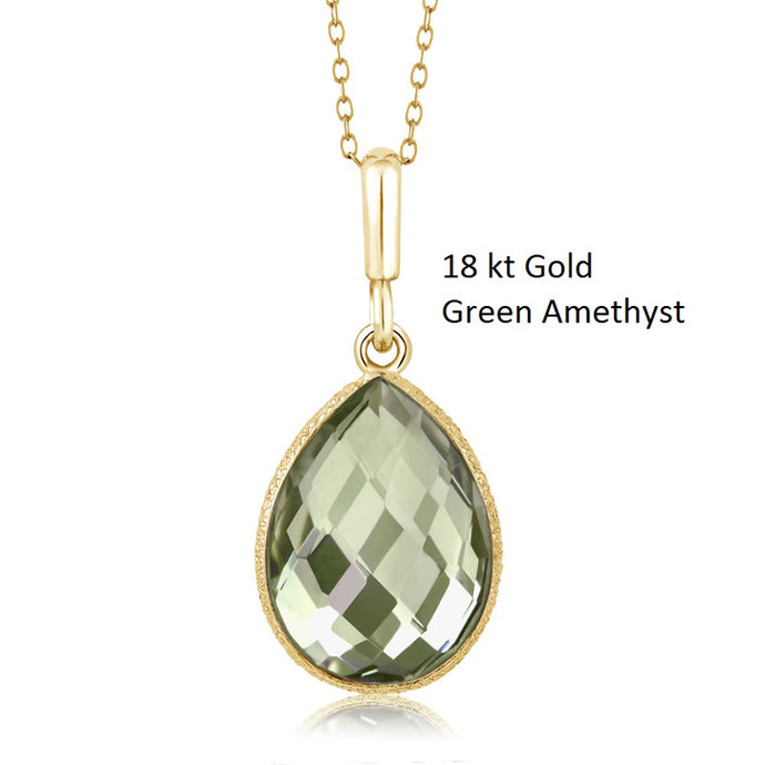 6.00 Ct Genuine Green Amethyst Pear Shape 18KT Gold Over 925 Sterling Silver Pendant