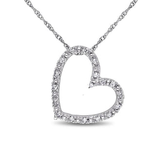 Diamond Accent Heart Outline Choker Necklace in Sterling Silver - 15.5""