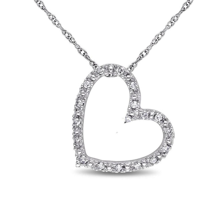 Diamond Accent Heart Outline Choker Necklace in Sterling Silver - 15.5