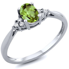0.56 CTTW 14K White Gold Peridot and Diamond Ring in Green