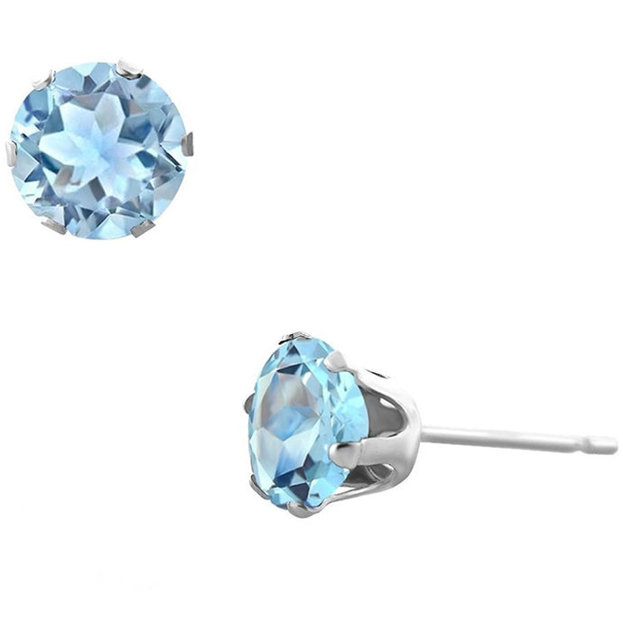 Voss+Agin 1.75CTW Genuine Blue Topaz Stud Earrings in Sterling Silver