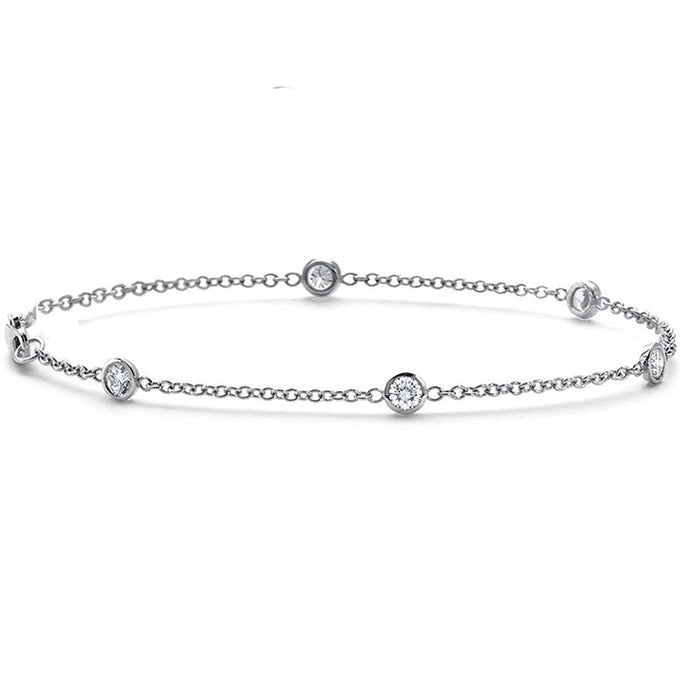 .25 CTW Genuine Diamond by the Yard Bracelet in 14k White Gold