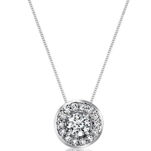Voss+Agin .33CTW 18'' Genuine Diamond Halo Pendant and Necklace in 14K White Gold