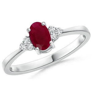 Voss+Agin 1.00CTW Oval Genuine Ruby and Diamond Ring in 10K White Gold