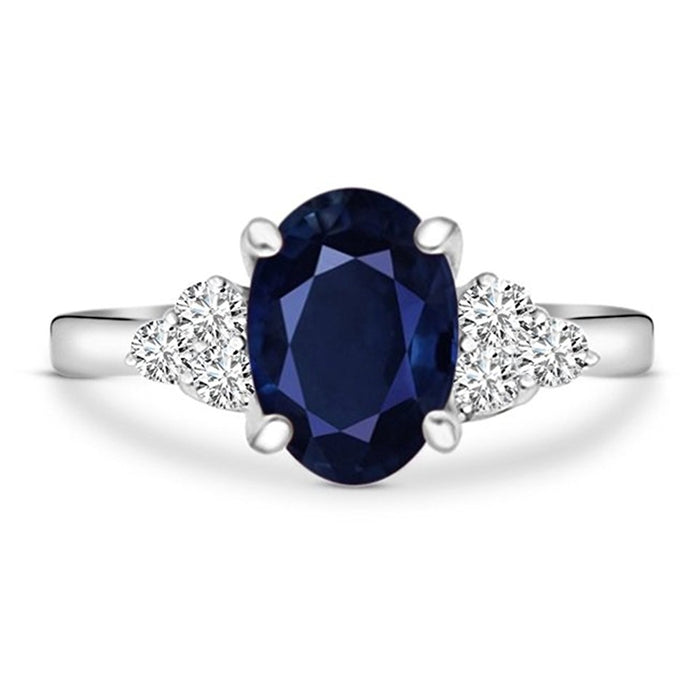 Voss+Agin 1.40ctw Diamond and Sapphire Ring in 10k White Gold