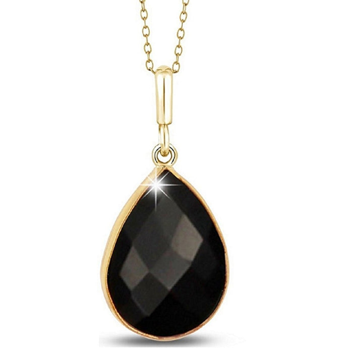 Voss+Agin 5.00CTW 18'' 14K Gold Plated Genuine Onyx Tear Drop Pendant in Black