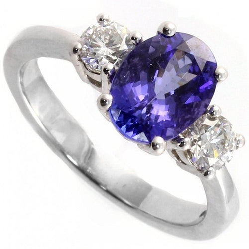 Voss+Agin 1.25CTW Oval Tanzanite & Diamond 3 Stone Ring in Sterling Silver