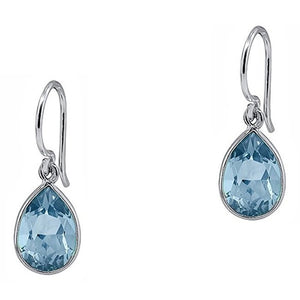 Voss+Agin 2.50 CTW Pear-Shaped Blue Topaz Drop Earrings in Sterling Silver