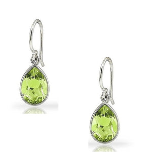 Voss+Agin 2.50 CTW Pear Shaped Peridot Drop Earrings in Sterling Silver
