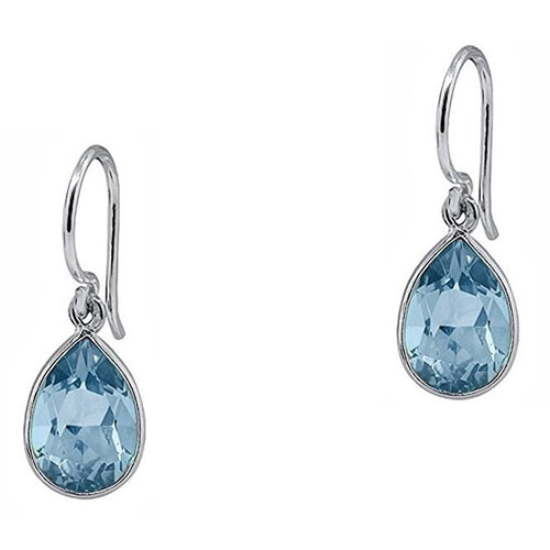 Voss+Agin 6.00 CTW Pear-Shaped Blue Topaz Drop Earrings in Sterling Silver